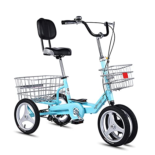 Triciclo para adultos bicicleta Triciclos Adultos 3 Bicicletas De Ruedas 12/14 Pulgadas De Comodidad Con Bicicletas Con Canasta Grande Y Respaldo Del Asiento Para Recreac(Size:12Inch,Color:Cielo azul)