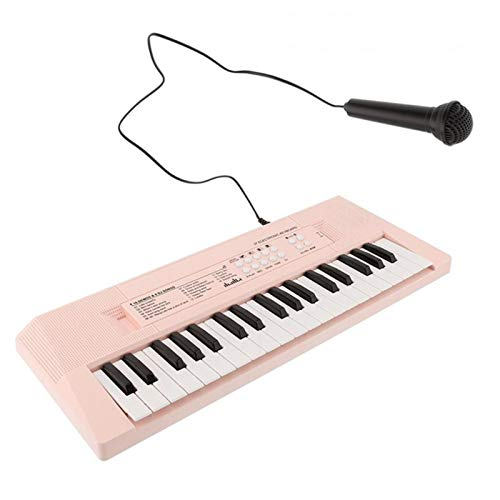 CWH&WEN Electronic Keyboard 37 Key Portable Music Piano Keyboard with Microphone Interactive Teaching Piano Keyboard,Pink