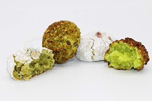 Pasticcini di mandorla siciliani Pistacchio e Granella di Pistacchio (500g) confezionati singolarmente in buste monodose e spedite in box regalo - Nonna Sicula - Malaseno