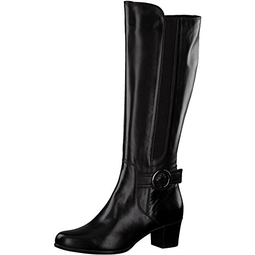 Tamaris Damen Stiefel 25549-21,Frauen Boots,Lederstiefel,Reißverschluss,Blockabsatz 5cm,Black,EU 36