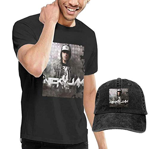 Thimd Camiseta de Manga Corta para Hombre,Gorra de béisbol Combinación Negro Nicky Jam Hits T Shirts and Washed Denim Baseball Dad Hat Black