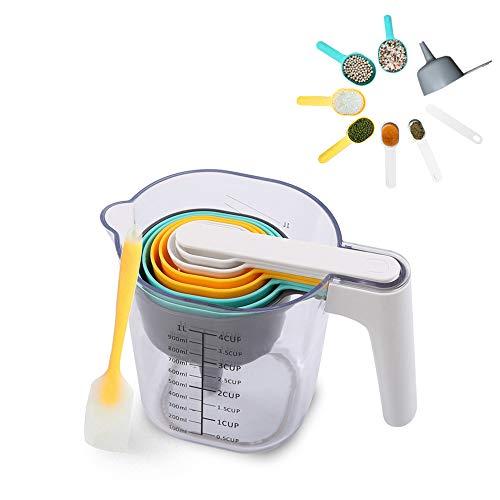 Daymi Messbecher und Löffel Set 10 Stück mit Schaber, Trichter, Teigschaber, ABS Backzubehör Küchenutensilien Set für trockene und flüssige Zutaten