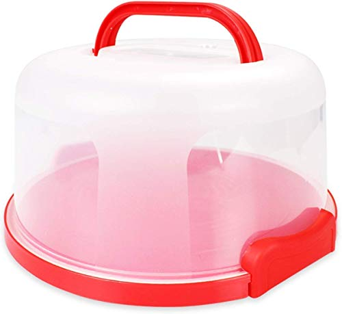 Flixeno Sturdy Cake Carrier Holder Plate Up To 10 inch Cover Saver Round Five Section Serving Tray Storage Container Stand for Cakes & Cupcakes with Collapsible Handles (Red)