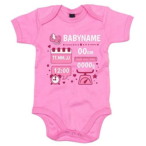 shirtdepartment - Baby Body - Personalisiertes Geschenk zur Geburt - Mädchen (50-62, rosa-Weiss)