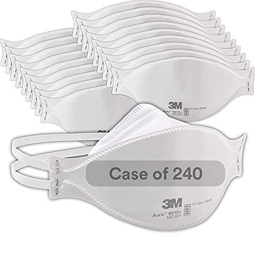 3M 9210 Standard N95 Aura 9210+ Disposable Particulate Respirator with Adjustable Nose Clip - Meets NIOSH and OSHA Standards (20/EA Per Box)