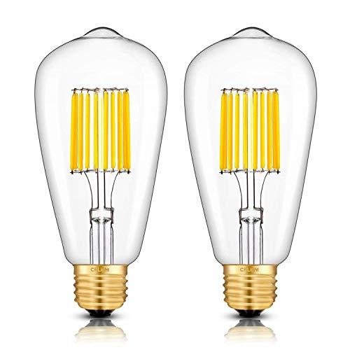 CRLight 10W Dimmable LED Edison Bulb 100W Equivalent 1000Lumen 3000K Soft White, E26 Medium Base ST64 Antique LED Filament Light Bulbs, Smooth Dimming Version, 2 Pack