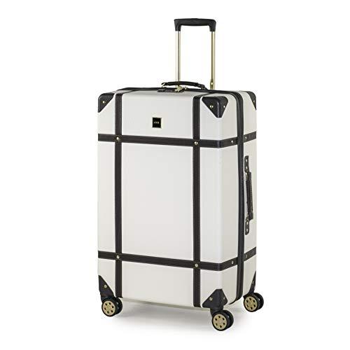 Rock Vintage 78cm Suitcase Retro 8 Wheel Spinner Luggage Cream
