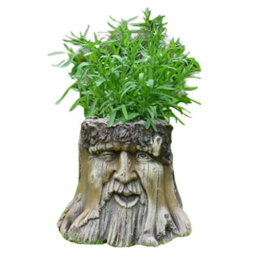 Daisy Bumbles Garden Planters, Novelty Tree Stump Garden Planter Wood Carved Man's Face Winking Eye Effect Patio Yard Ornament Decorative Flower Pot Resin Art H: 25cm W: 30cm D: 25cm