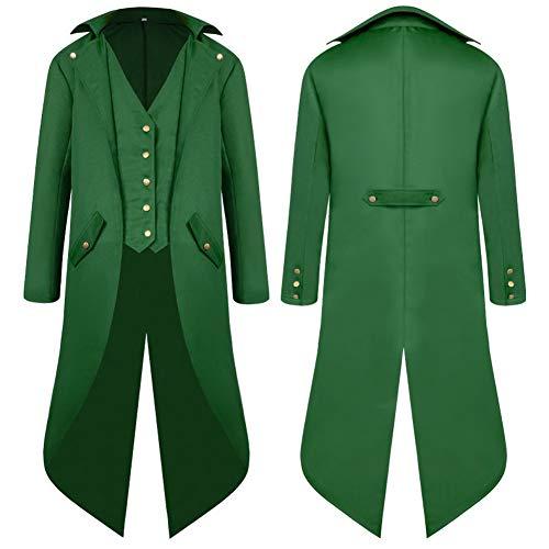 SwissWell Herren Steampunk Vintage Gothic Jacke warme Frack Herrenjacke Knöpfe Langer Mantel Cosplay Kostüm Graben Bomberjacke Cape mit...