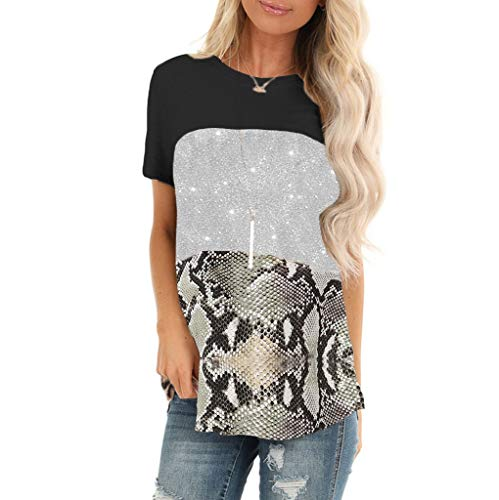 UJUNAOR Women's T-Shirt Round Neck Short Sleeve Shirt with All-Over Print Summer Blouse Casual Top Casual Short Sleeve T-Shirts for Women O-Neck Leopard Sequin Tunic Elegant Tops - Black - XL