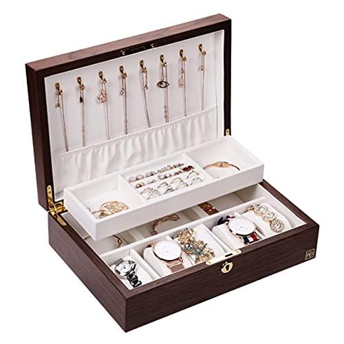 Caja de joyería de madera cuadrada grande de lujo con cierre de terciopelo reloj anillo collar cuentas caja de almacenamiento ataúd nogal largo