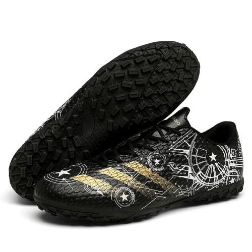 Mislanee Botas de fútbol para hombre con tacos y tacos para entrenamiento juvenil, zapatos profesionales al aire libre, Black, 44 EU