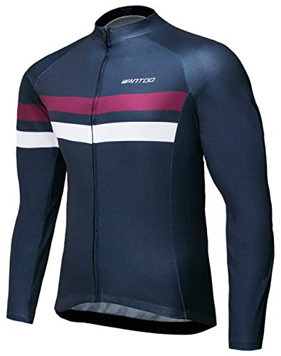 Wantdo Men's Long Sleeve Cycling Jerseys Biking Shirt Breathable Quick Dry Road Mountain Bicycle Jacket XX-Large