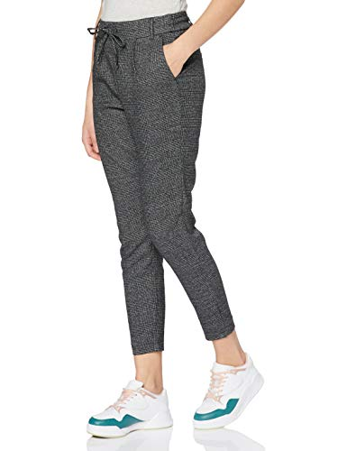 ONLY Damen Onlpoptrash Soft Check Pant Noos Hose, Grau (Black Checks:cloud Dancer), 27W 32L EU