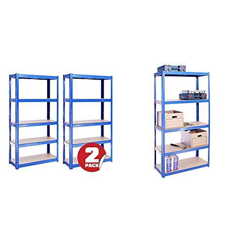 2 Bay 150cm x 75cm x 30cm, Blue 5 Tier, 875KG Capacity Garage Shed Storage Shelving Units & 180cm x 90cm x 40cm, Blue 5 Tier (175KG Per Shelf), 875KG Capacity Garage Shed Storage Shelving Units