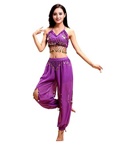 Grouptap Bollywood Frauen Indien arabische Dame Bauchtänzerin Pailletten Oben Schlitz Hosen Kleid Party Kostüm Violett Phantasie Erwachsenen Outfit (Violett, 150-170 cm)