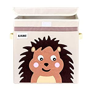 Lemonfilter Kids Cube Storage Box with Cover, Foldable Cartoon Cube Organizer, Toy Organizer Container for Living Room, Children's Room, Kids Playroom
