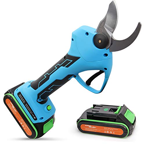 Pruning Shears Battery Powered with 2 Pack Backup Rechargeable 2Ah Lithium Battery Powered Tree Branch Pruner, 32mm (1.26 Inch) Cutting Diameter, 6-8 Working Hours (Deep blue) (21V-Deep blue)