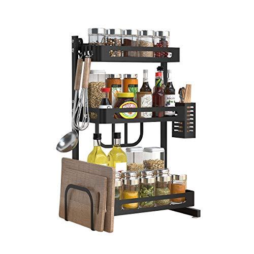 Gewürzregal-Set, 3-stöckig, Küchenregal, Organizer, Thekenaufbewahrung, freistehendes Regal mit Messerhalter, Schneidebretthalter, Besteckhalter