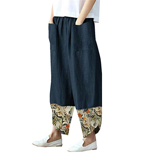 Yivise Womens Cotton Linen Beach Pants Wide Leg Baggy Casual Trouser Elastic Waist Boho Plus Size Smock Yoga Harem Pants Navy