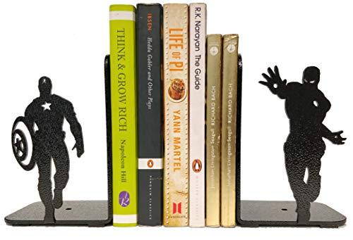 HeavenlyKraft Superheros Decorative Metal Bookend, Non Skid Book End, Book Stopper for Home/ Office Decor/ Shelves, 5.9 X 3.9 X 3.14 Inch Per Piece