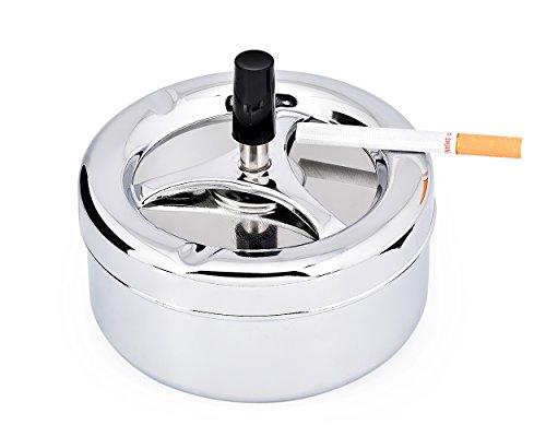 DSstyles 13 cm Cendrier en Métal Rond avec Cigare à Cigarettes Cendrier à Fumée - Argent