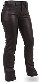 Bikers Gear Australia Ladies Classic Leather Jeans for Motorcycle or Casual 100% Leather Black