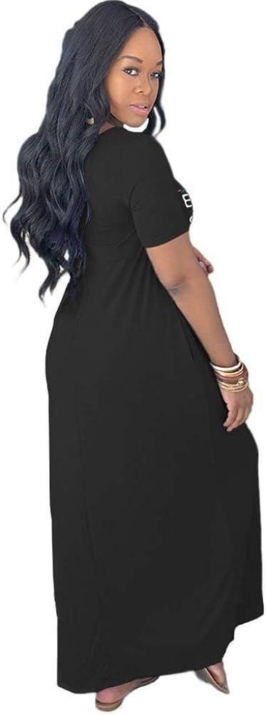 OLUOLIN Women's Casual Letter Print Long Sleeve Bowknot Sides Slit Loose Long T-Shirt Maxi Dress