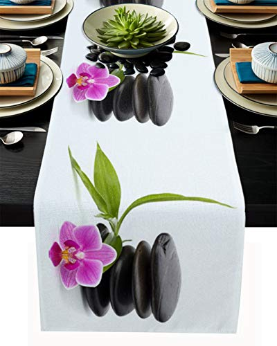 Table Runner 70 Inches Long for Dining Coffee Table, Zen Meditation Pebbles and Flowers, Burlap Rectangle Table Cloth Decor Dress Scarf Birthday Wedding Holiday Party, 13
