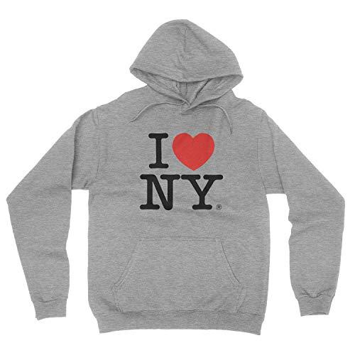 NYC FACTORY I Love NY New York Hoodie Bildschirm Print Herz Sweatshirt Grau