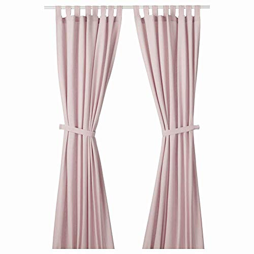 Ikea Asia Lenda Curtains with Tie-Backs 1 Pair, Light Pink, 55x98 inch