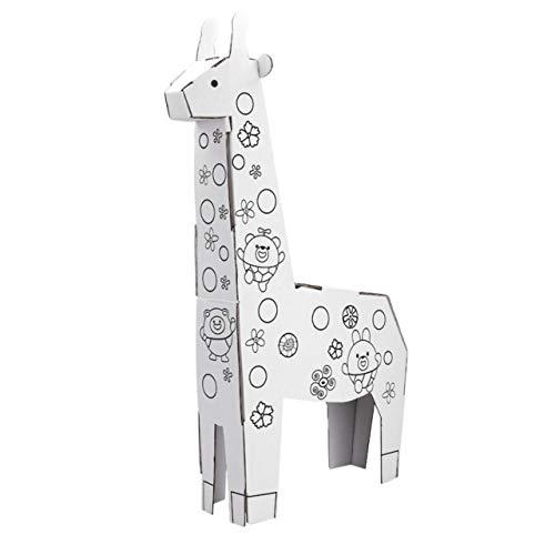 22Baby Juego de manualidades para niños, figuras de animales de cartón para pintar con acuarelas, juguete pedagógico Montessori DIY | promueve la creatividad y el rendimiento cognitivo | jirafa