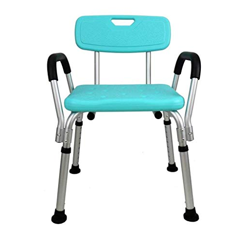 ZXY-NAN Bathroom Wheelchairs Bath Stools Bathroom Stools Blue Bathroom Toilet Anti-slip Bathing Stool Thicken Aluminum Alloy Elderly Shower Chair With Armrest Backrest Height Adjustable Pregnant Women