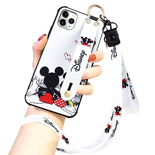 DISNEY COLLECTION iPhone 11 Pro Max Hülle, Disney Mickey Couple Street Fashion Wrist Strap Band Protector Phone Cover Full Body Bumper Lanyard Hülle für iPhone 11 Pro Max 6,5 Zoll 2019