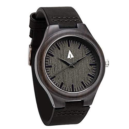 Treehut Mens All Black Ebony Wooden Watch with Genuine Black Leather Strap Qu.