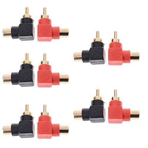Adattatori spina connettore ad angolo retto 10 pezzi M/F maschio a femmina gomito a 90 gradi, connettore maschio/femmina RCA a terminale AV Adattatore audio video