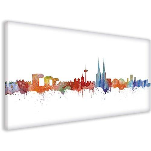 Köln Skyline Stadt Weiss by DiChyk (div. Größen) - Kunst Druck auf Leinwand - Bild fertig auf Keilrahmen ! Graffiti Like Banksy Art Gemälde Kunstd (50x100cm)