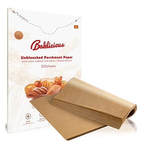 BAKLICIOUS 220 pcs Parchment Paper Sheets 9x13/12x16 Unbleached Parchment Paper for Baking(12x16 inch)
