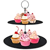 Two Tier Slate Cake Stand - Round Multi Tiered Tray Serving Plate, Cupcake Holder Display, Dessert Tower, Fruit Platter w/Stainless Steel Rods and Handle, For Wedding, Birthday - NutriChef PKCKSTD10