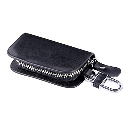 Key Holder Bag, Universal Leather Wood Grain Texture Waist Hanging Zipper Wallets (No Include Key) (Color : Black)