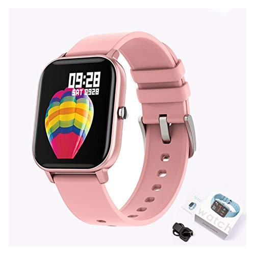 YNLRY Nuevo reloj inteligente de pantalla de color P8 mujeres hombres Full Touch Fitness Tracker presión arterial reloj inteligente mujeres smartwatch para Xiaomi (color: silicona rosa)