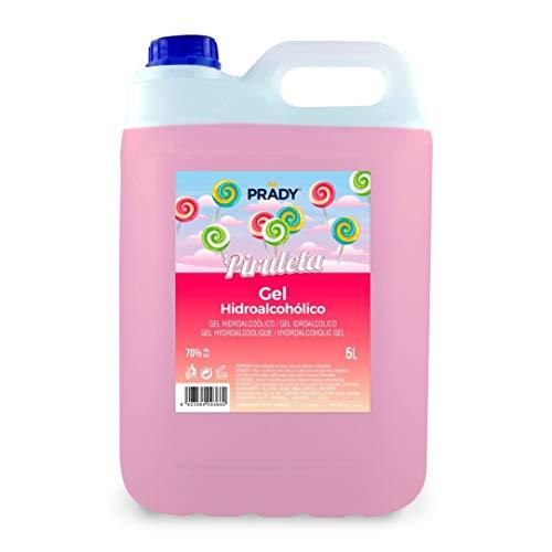 Gel Hidroalcohólico olor Piruleta 5 litros Prady - Fabricado en España - 70% de Alcohol con Dosificador - Niños Aroma Golosinas Perfumado Fragancia Desinfectante Manos Bactericida Dispensador Hidrogel