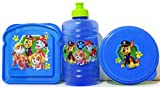 Paw Patrol Azul y verde sándwich comida, botella de agua y recipiente para alimentos caja de almuerzo 3piezas Juego