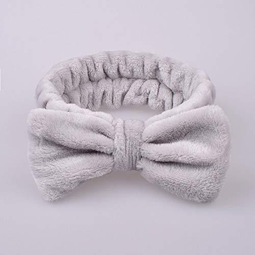 Xingsd - Fascia per capelli in microfibra con fiocco, fascia elastica per capelli, per truccarsi e sciacquarsi, SPA, yoga, sport