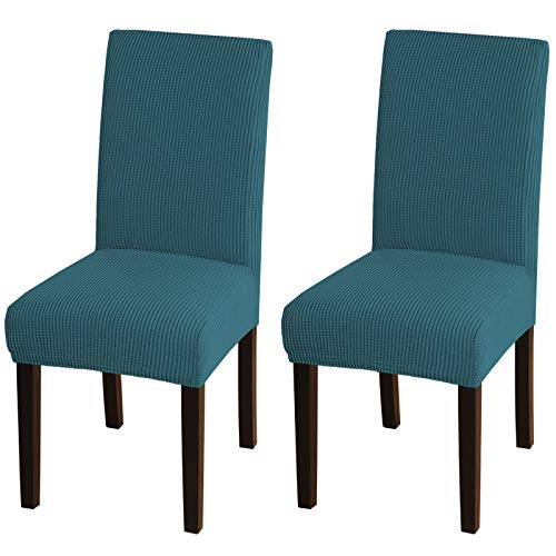 Turquoize Chair Covers For Dining Room Dining Chair Covers Set Of 2 Stretch Dining Chair Slipcover Parsons Chair Covers Removable Chair Protector Covers For Dining Room, Hotel, Ceremony (2, Deep Teal)