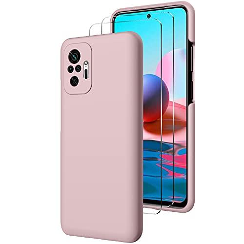 Custodia Cover Compatibile con Xiaomi Redmi Note 10 PRO con 2 Pezzi di Vetro Temperato Incluso, Morbido Silicone Liquido Protettivo Bumper TPU Gel Smartphone Custodia Case, Rosa