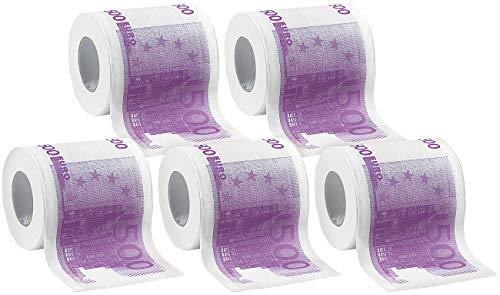 infactory Klopapier witzig: Toilettenpapier mit aufgedruckten 500-Euro-Noten, 2-lagig, 1.000 Blatt (WC Scherzartikel)