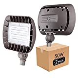 Lightdot Outdoor LED Flood Light with Knuckle Mount, (50W Eqv 220w) 5000K Adjustable Angle Required for Illuminating Flagpole/Tree/Yards/Advertising Boards