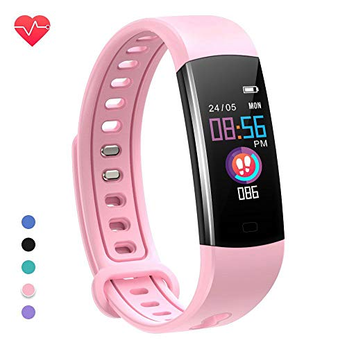 moreFit Kids Fitness Tracker with Heart Rate Monitor,Waterproof Activity Tracker Watch with 4 Sport Modes,Sleep Monitor Fitness Watch with Call & SMS Reminder Alarm Clock,Great Gift - Pink