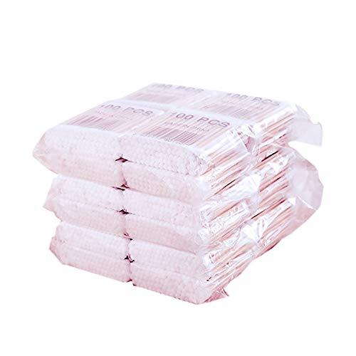 Gaoominy 800pcs / Pack Coton-Tiges Jetables Bourgeons Coton Bambou Cotons-Tiges Nettoyage MéDical Des Oreilles Batons De Bois Maquillage Outils De Santé Tampons